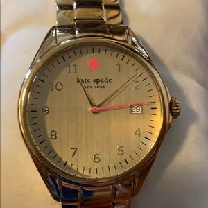 Kate Spade gold watch with pink accents with box